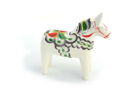 "Wooden Dalahorse 6"" White"