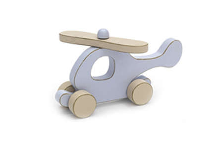 Teddykompaniet Ted Wooden Helicopter on Wheels (Without Box)