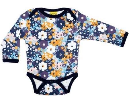 DUNS Organic Cotton Flower Long Sleeve Onesie (9 Months)