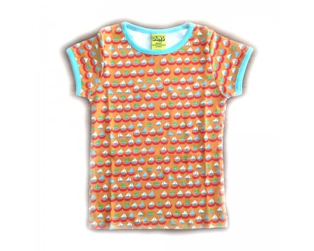"DUNS Organic Cotton ""Sailing Boats Orange\"" Short Sleeve Top (12-18M)"