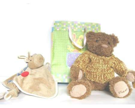 Gift BagTeddy bear with Sweater and a Blanky, Newborn and up