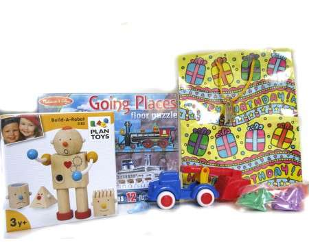 Gift Birthday Bag Robot, Puzzle and Truck for a 3 Year Old