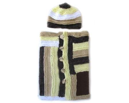 KSS Brown & Yellow Baby Cocoon with a Hat 0 - 3 Months