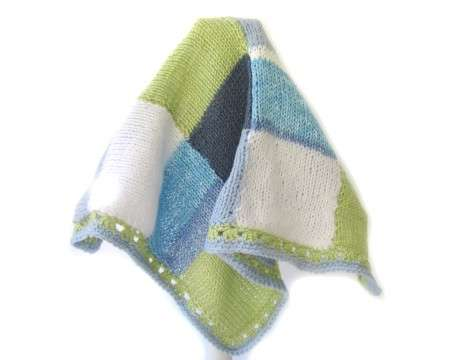 KSS Light blue, Green Squares Baby Blanket Newborn and up