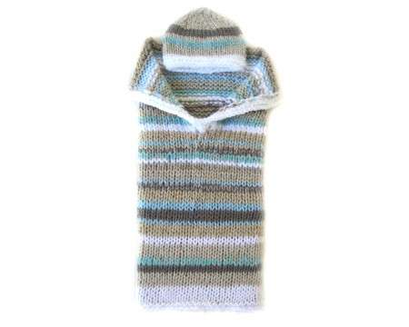 KSS Striped Beige and Aqua Baby Cocoon with a Hat 0 - 3 Months
