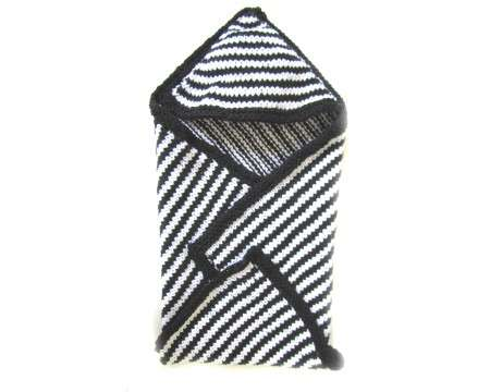 "KSS Cotton Baby Blanket in White & Black 22""x22\"" Newborn and up"