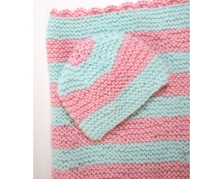 "KSS Pastel Baby Blanket and Hat 25""x20\"" Newborn and up"
