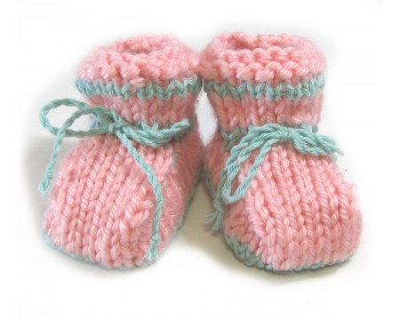 KSS Boxed Pink/Mint Green Knitted Booties (6 Months)