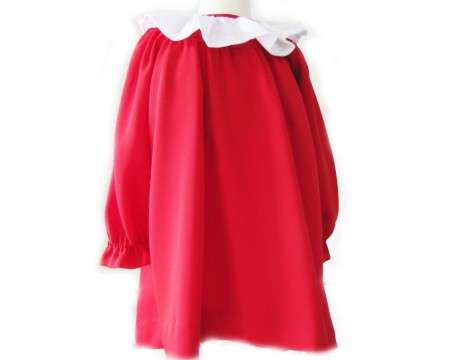 KSS Red Silk Crepe Dress with White Collar (5 Years)