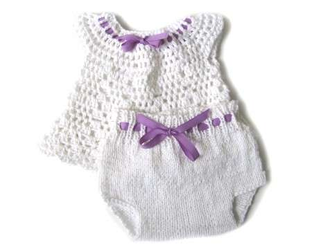 KSS Crocheted White Baby Dress and Panty 3 Months