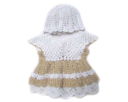 KSS Crocheted Whie/Natural Cotton Baby Dress & Cap 6 Months