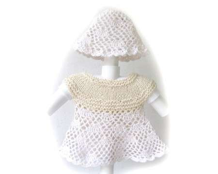 KSS Baby Crocheted Natural Cotton Dress and Hat 3 Months