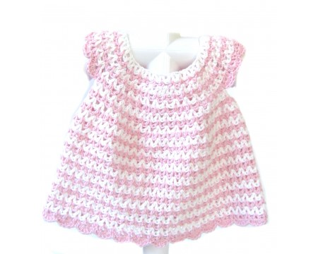 KSS Baby Crocheted Pink/White Cotton Dress and Hat 6 Months