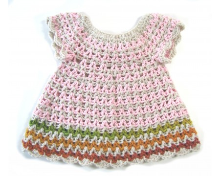 KSS Baby Crocheted Pink/Grey Dress Newborn