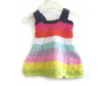 KSS Baby Knitted Pastel Rainbow Cotton Dress and Hat 6 Months