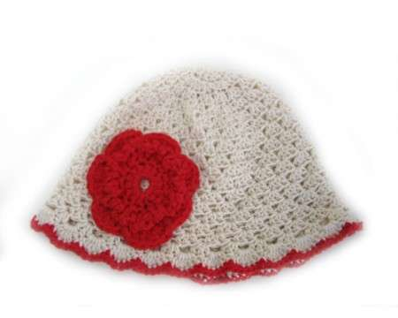 "KSS Natural Cotton Cap with red 15"" (9-18 months)"