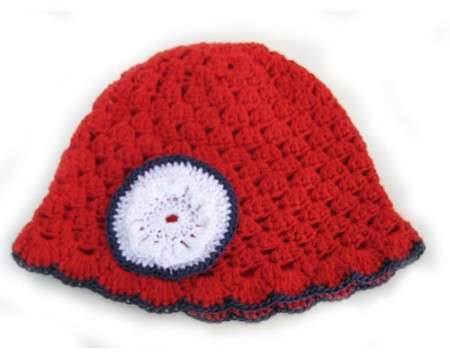 "KSS Red Cotton Cap with Navy Trim 16"" (12-24 Months)"