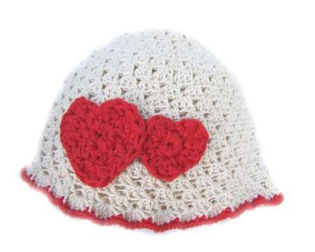 "KSS Natural Cotton Cap with Red Hearts 14"" ( 6-12 Months)"