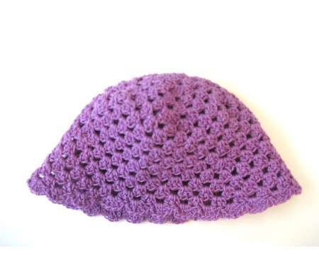 "KSS Purple Crocheted Cotton Cap 16-17"" (12-24 Months)"