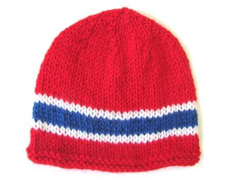 KSS Red Beanie with Norwegian Colors 13-15 inch 3-9 Months)