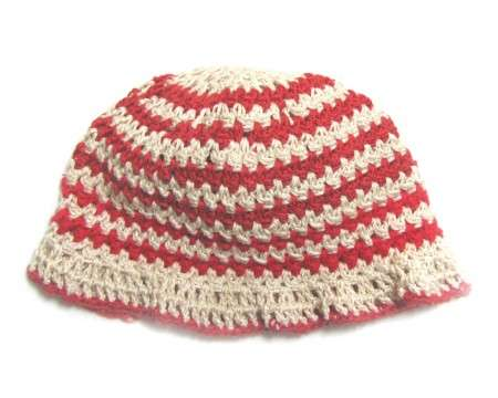 "KSS Red/Natural Crocheted Cotton Cloche 16-17""/12-24 Months"