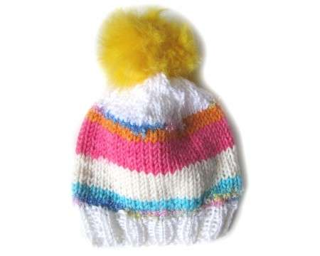 "KSS Knitted Hat with Furry Pom Pom 12 - 14"" (0 -12 Months)"