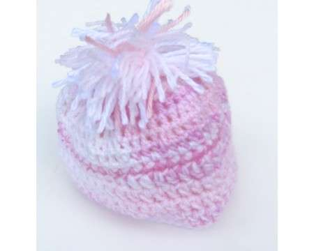 "KSS Pink & White Beanie with a Tassell 13-14"" (0 - 1 Years)"