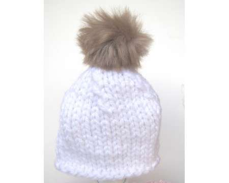 "KSS White Hat with Furry Pom Pom 12 - 14"" (0 -6 Months)"