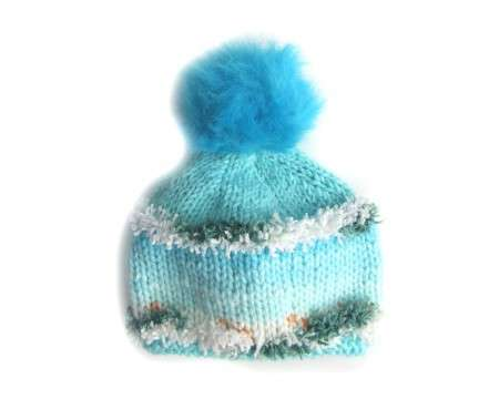 "KSS Knitted Hat with Furry Pom Pom 14-15"" (3 -18 Months)"