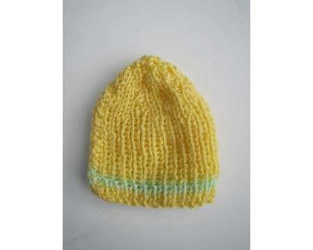 "KSS Yellow Ribbed Winter Beanie 9-11"" (Newborn)"