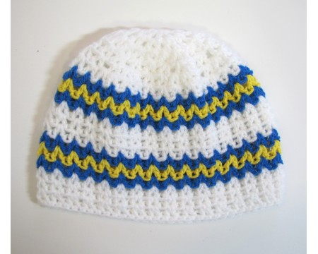 KSS White Beanie with Swedish Colors 13-15 inch (M/3-9 Months)