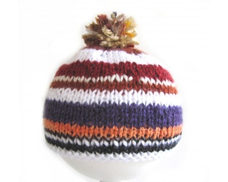 "KSS Striped Mix Purple/Rust Hat with Pom Pom 15-17"" (6 -24 Months)"
