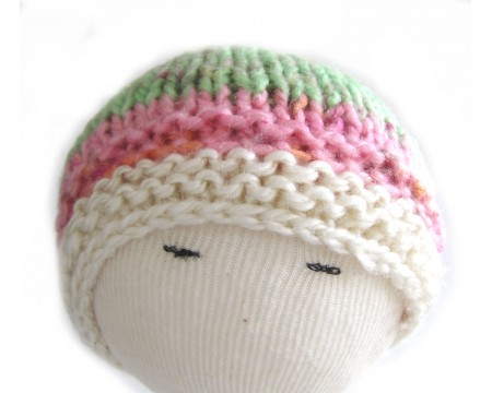 "KSS Striped White/Pink/Green Mix Beanie 14"" (6-12 Months)"