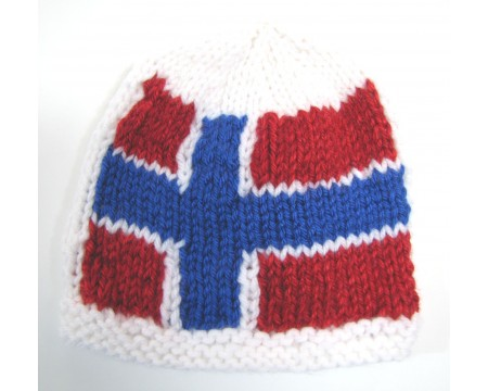 "KSS White Beanie with a Danish Flag 14"" (3 - 6 Months)"