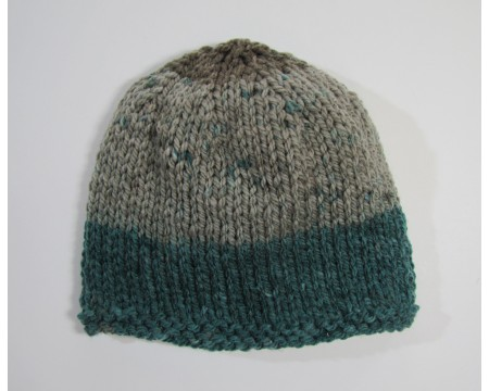 "KSS Two Tone Grey/Green Baby Beanie 14-16"" (6-18Months)"