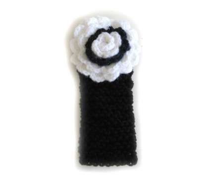 KSS Black Knitted Headband with White Flower 14-17""