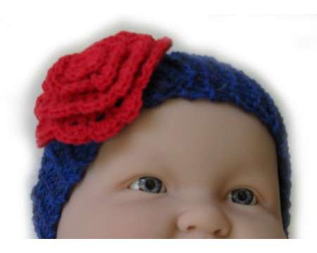 KSS Navy Knitted Headband with Red Flower 12-15""
