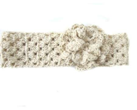 KSS Natural Cotton Headband with Flower 14-16""