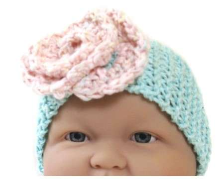 KSS Turquoise Knitted Head Band, Pink flower 14-16""