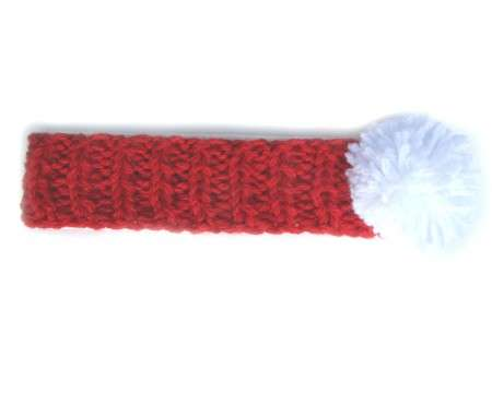 KSS Red Heavy Headband with a White Pom-pom (0 - 6 Months)
