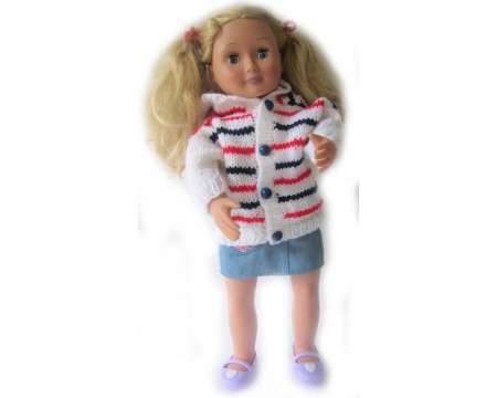 "KSS Flag Colored Hooded Sweater Cardigan for 18"" Doll"