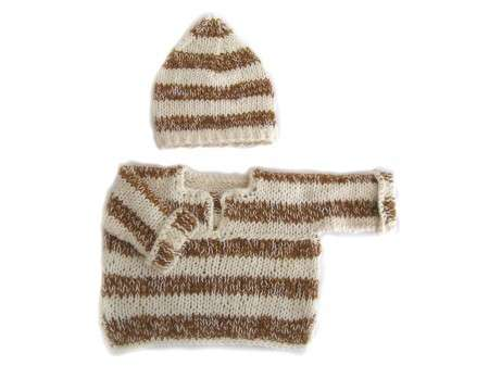 KSS Brown/Natural Cotton Sweater and Hat 6-9 Months