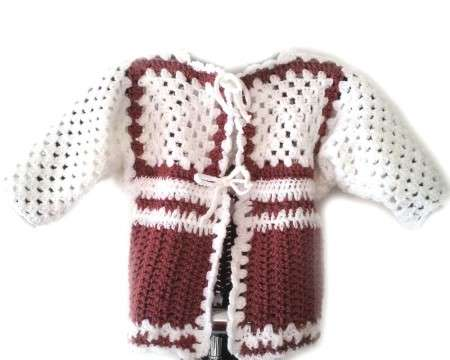 KSS Earth Colored Sweater/Jacket Mauve/White (12 Months)