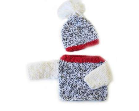 KSS White, Black and Red Sweater with a Hat (3 - 6 Months)
