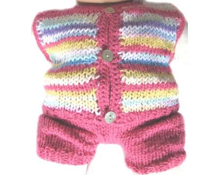 KSS Rose Striped Sweater Vest and Pants (12 Months)
