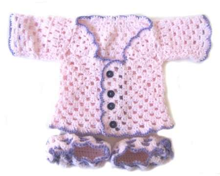 KSS Pink Sweater/Jacket and Booties Set (6 Months)