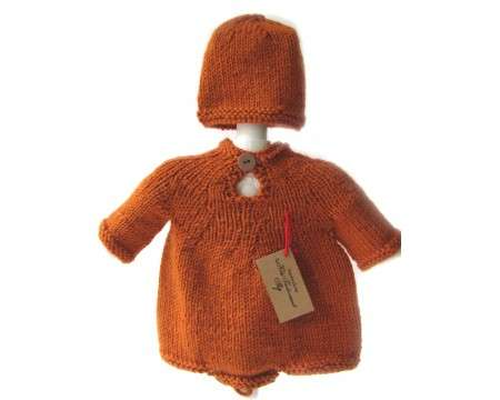 KSS Pumpkin Colored Onesie and Cap 3 Months