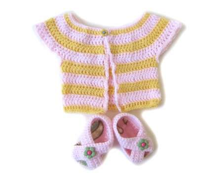 KSS Pink & Yellow Sweater and Booties(3 Months)