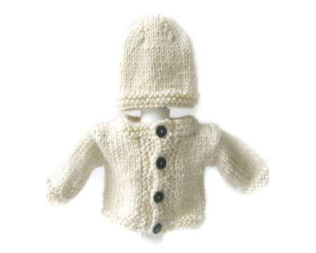 KSS Ivory Sweater/Jacket and Hat Newborn - 3 Months