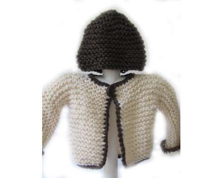 KSS White/Brown Sweater with a Hat (12-18 Months)